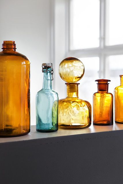 Vintage amber glassware bottles | Girlfriend is Better