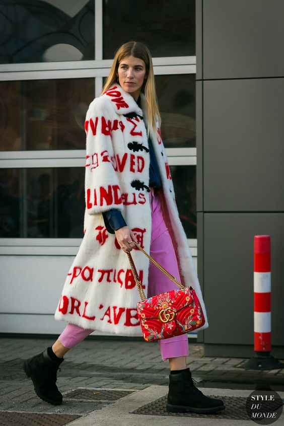 Bold red lettering on mid-length fur coat | Milan FW Fall 2017 | Girlfriend is Better