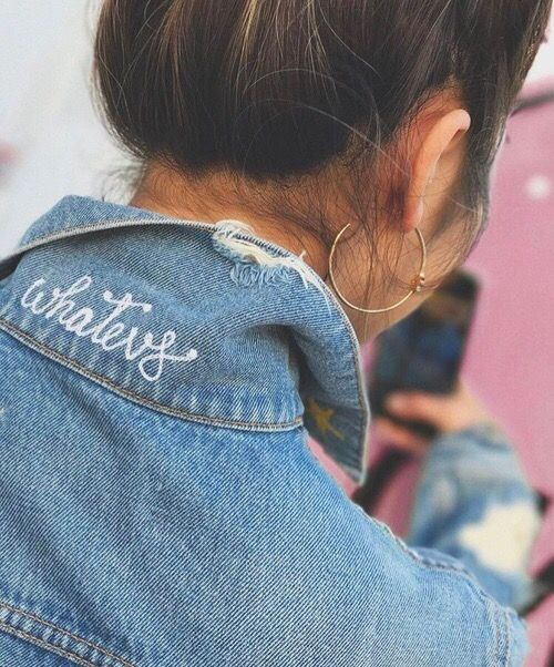 Whatevs embroidered lettering on denim jacket collar | Girlfriend is Better