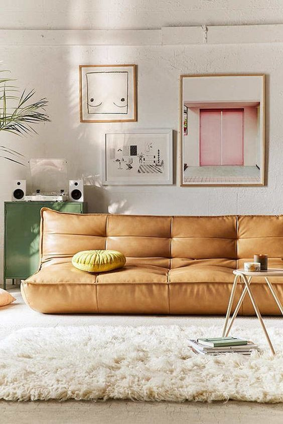 Libra astrology home decor guide | Leather sofa with Pampa cushion | Girlfriend is Better