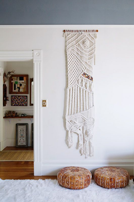 Minimal style macrame wall hangings frame doorways | Girlfriend is Better