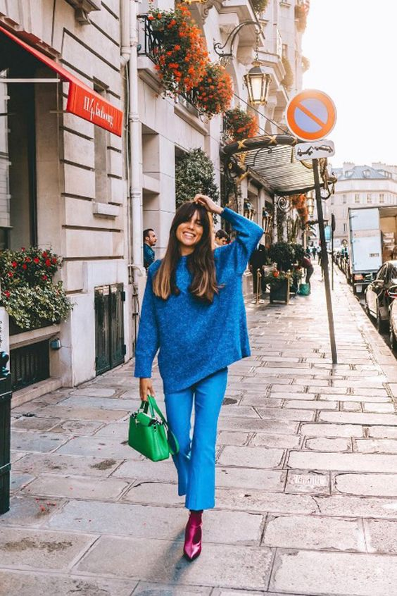 Bells on cropped flared blue pants | Jewel tones | Girlfriend is Better