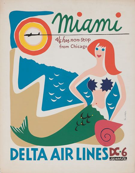 Caribbean cruise travel tips | Delta Airlines Miami vintage poster | Girlfriend is Better