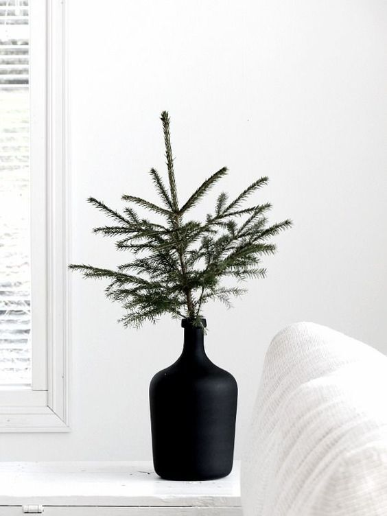 Christmas tree branch in contemporary vase | Hygge decor | Girlfriend is Better