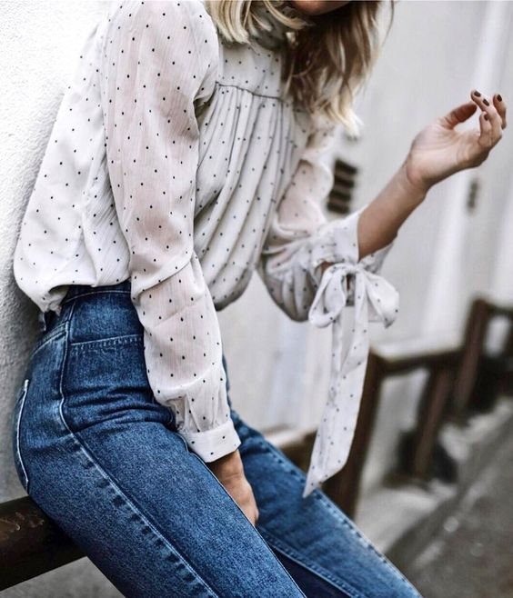 Polka dots on high neck blouse with bow sleeves | Girlfriend is Better