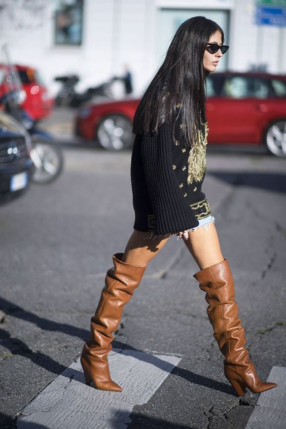 Long oversize sweaters with thigh high boots | Girlfriend is Better