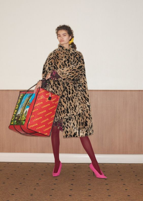 Balenciaga Resort 2018 Spring fashion   Pink and red tights   Leopard coat   Girlfriend is Better