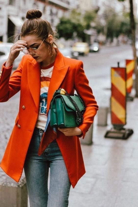Double-breasted blazers | Orange street style | Girlfriend is Better