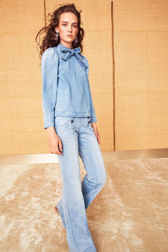 Valentine's Day fashion | Ulla Johnson Resort 2018 pussy bow denim blouse jeans | Girlfriend is Better