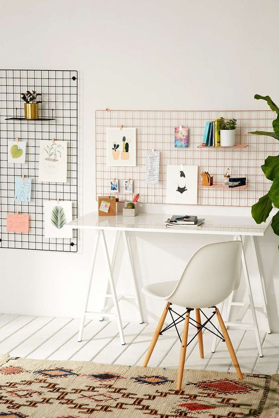 Organization ideas for office | Wire wall grid shelf | Girlfriend is Better