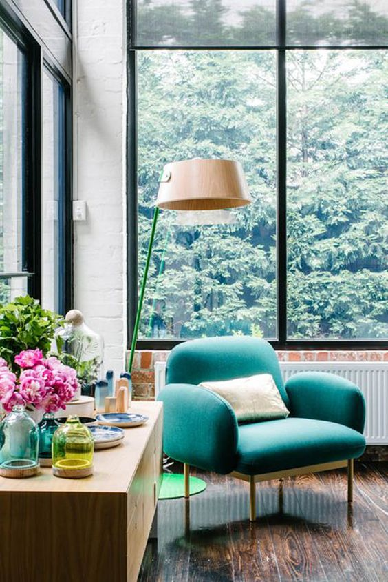 Pisces astrology home decor | Teal mid-century armchair | Girlfriend is Better