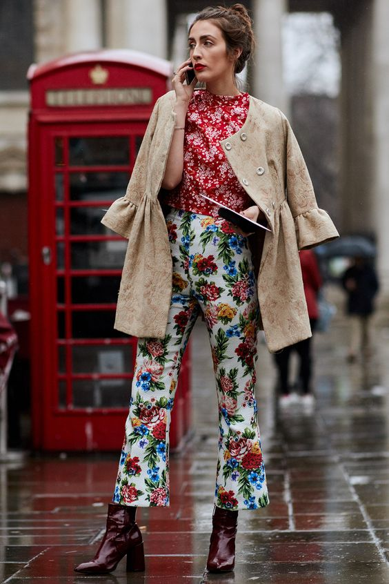 Print mixing baby bells pants, blouse, bell sleeves coat | London Fashion Week 2018 | Girlfriend is Better