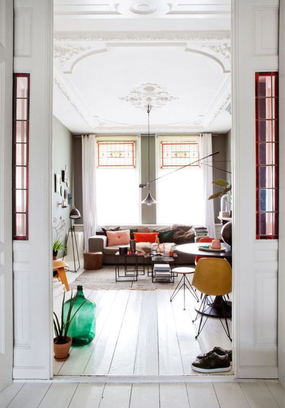 Stained glass windows living room | Netherlands The Hague apartment | Girlfriend is Better