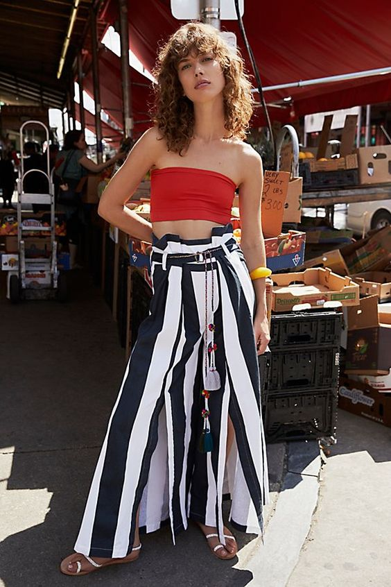 Bandeau crop tops and wide-leg striped pants   Girlfriend is Better