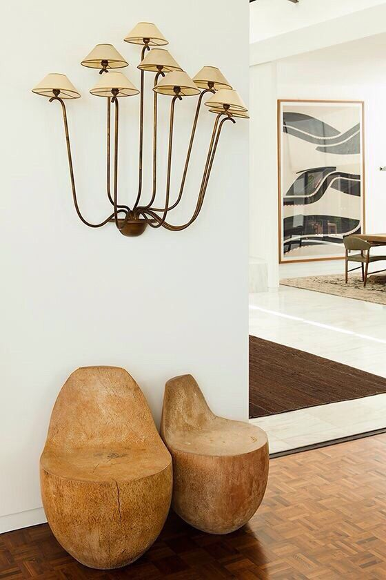 Earth element Feng Shui | Mushroom style sconce, heavy wood seats | Girlfriend is Better