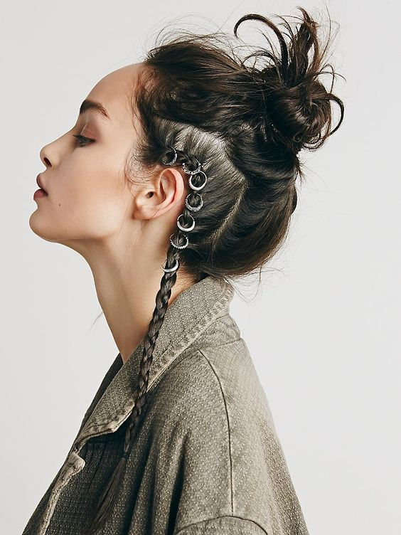 Etched hair ring set for mohawk braids and messy bun | Girlfriend is Better