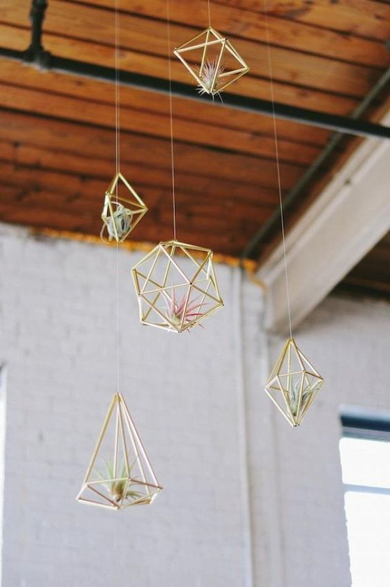 Gemini astrology home decor guide | Gold geometric air plant hangers | Girlfriend is Better