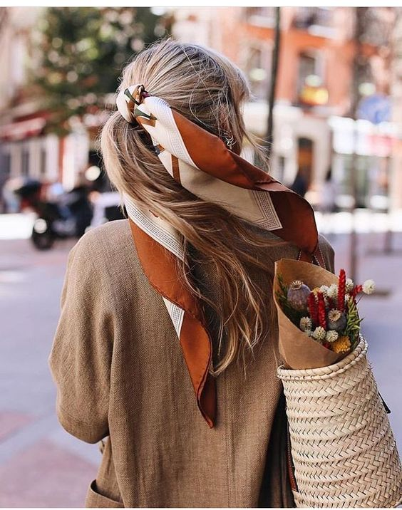 French girl ponytail hair scarf | Girlfriend is Better