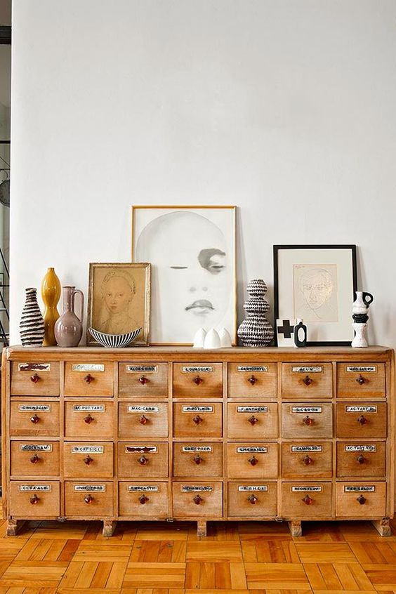 Home office organization   vintage apothecary cabinet   Girlfriend is Better
