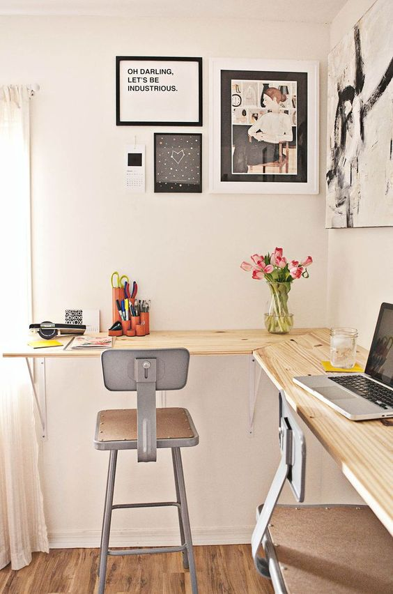 Home office corner desk DIY | Girlfriend is Better