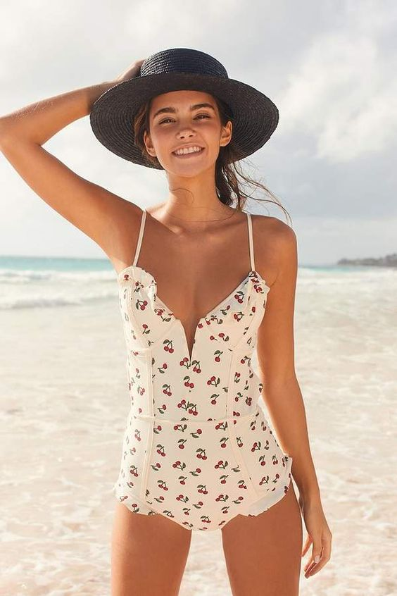 Ruffled floral one piece swimsuits | Plunging neckline straw hat | Girlfriend is Better