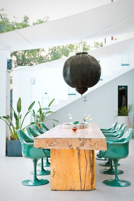 Water element Feng Shui | Patio wood table metal teal chairs | Girlfriend is Better