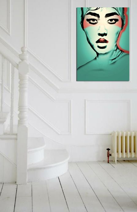 Water element Feng Shui | Teal abstract art portrait by Chantal Leger | Girlfriend is Better