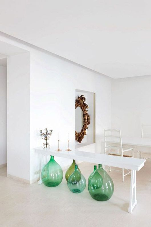 Water element Feng Shui | Casa Solaro Italian decor green wine jugs ornate mirror | Girlfriend is Better