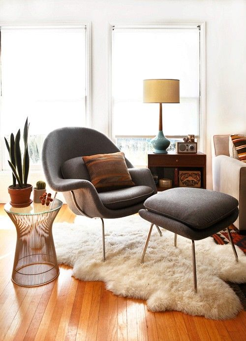 Cancer astrology home decor | Black leather mid-century modern chair flokati rug blue lamp living room | Girlfriend is Better