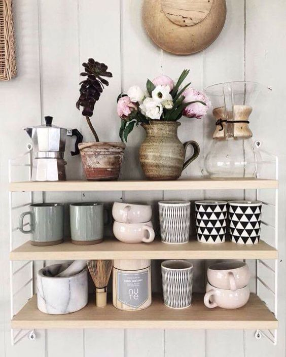 Cancer astrology home decor | Open shelving vintage mugs pottery | Girlfriend is Better