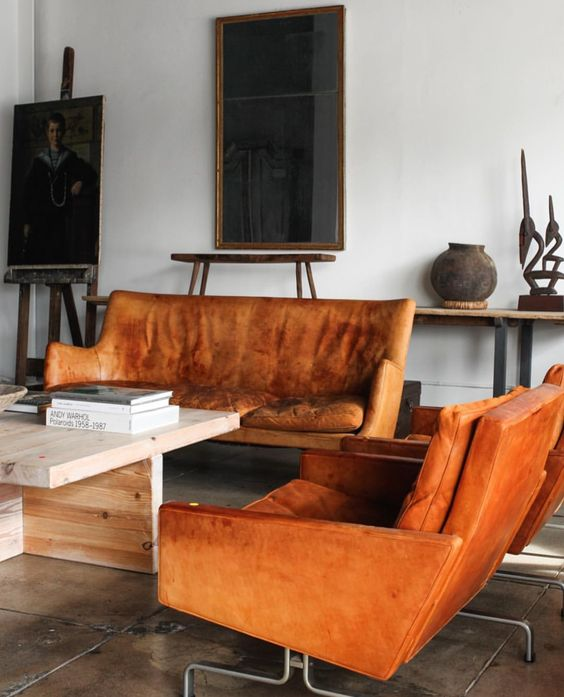 Orange sofas leather loveseat living room | Girlfriend is Better