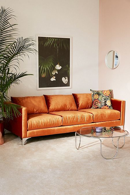 Orange sofas velvet upholstery | Girlfriend is Better