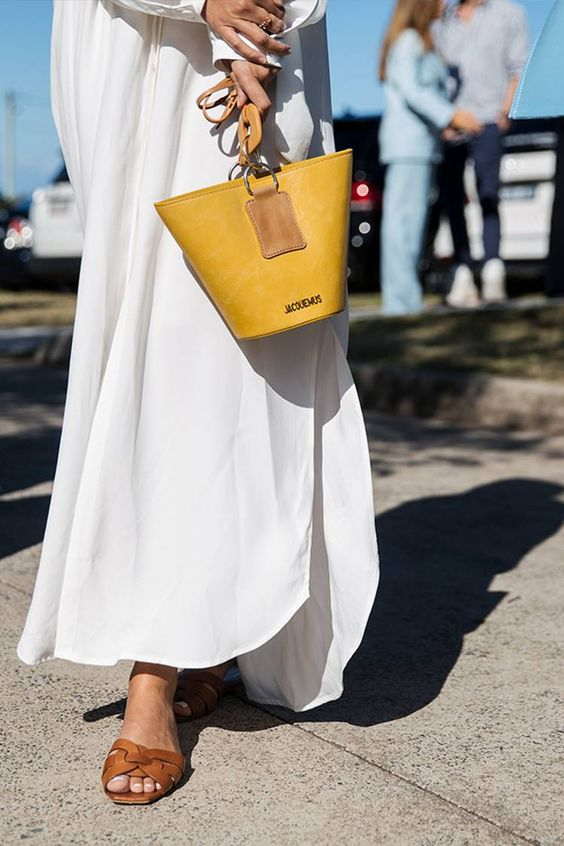 Saint Laurent tan leather sandals | All white dress yellow handbag purse | Girlfriend is Better