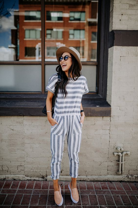 Striped navy summer jumpsuits | Girlfriend is Better