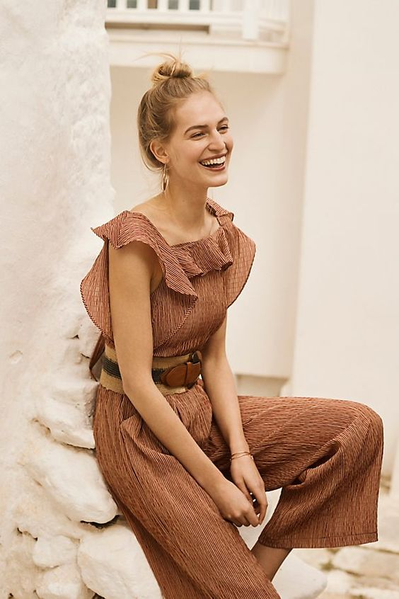 Terracotta summer jumpsuits ruffles | Girlfriend is Better