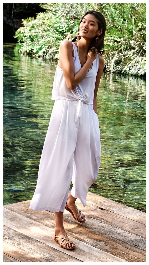 All white tie front summer jumpsuits wide leg pants | Girlfriend is Better