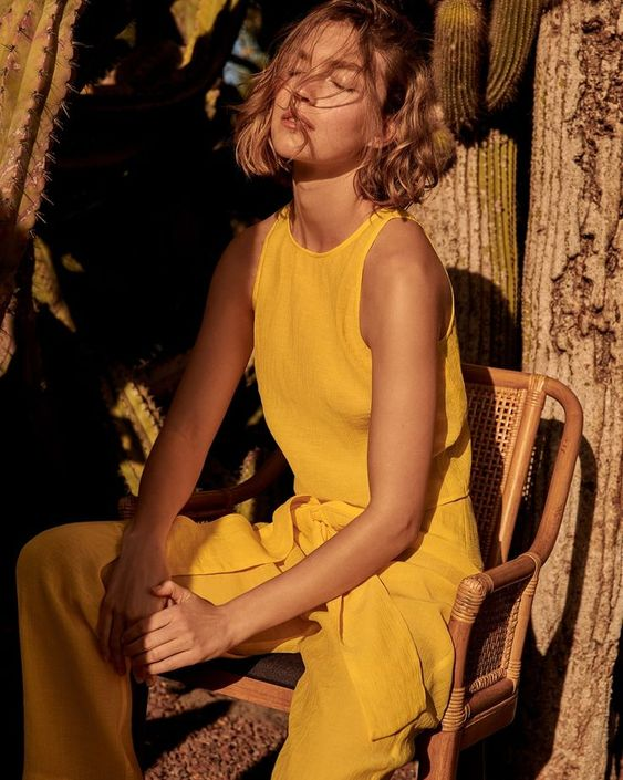 Mustard sleeveless summer jumpsuits | Girlfriend is Better