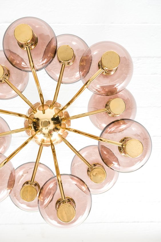 Leo astrology home decor guide | Brass pink glass mid-century modern rare ceiling lamp model T372/12 | Girlfriend is Better