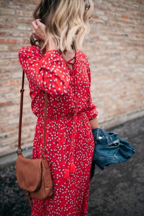 Red floral country dresses | tan saddle crossbody purse denim jeacket | Girlfriend is Better