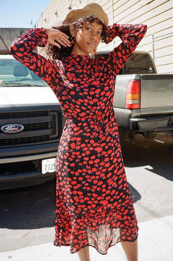 Red floral country dresses | French girl cool tab beret | Girlfriend is Better