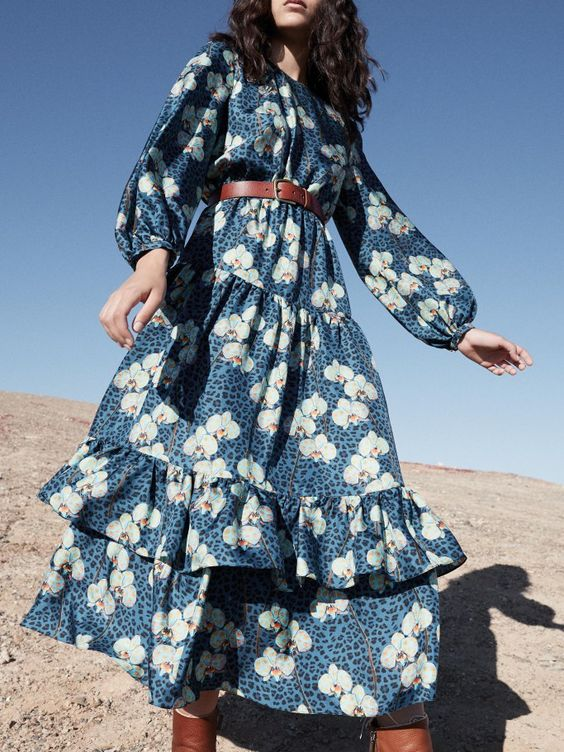 Blue floral country dresses | belt ruffles bishop sleeves | Girlfriend is Better