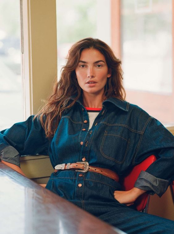 Ranch style denim jumpsuit Lily Aldridge | Girlfriend is Better