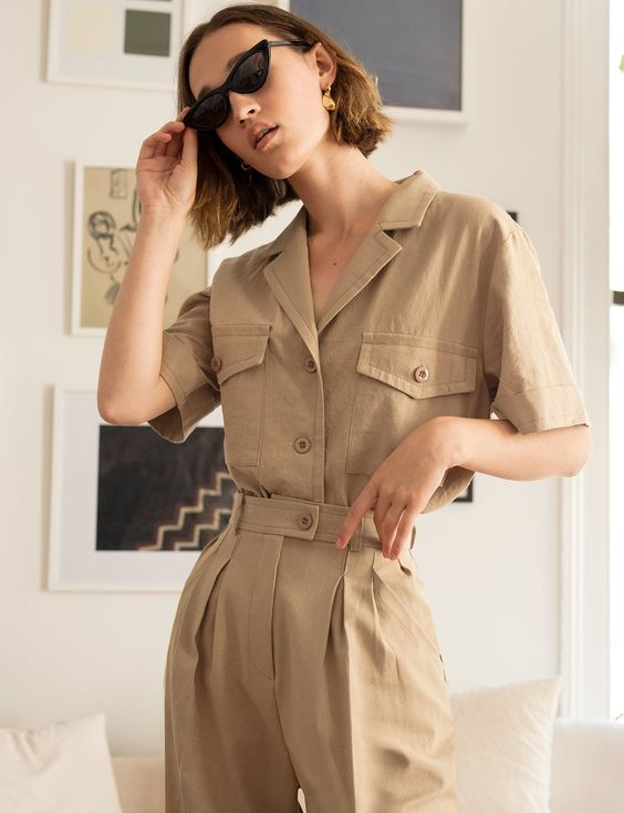 Ranch style khaki belted jumpsuit tiny sunglasses   Girlfriend is Better