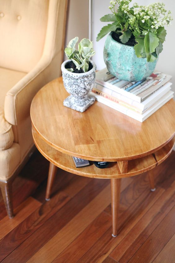 wood element Feng Shui | mid-century modern round end table plants | Girlfriend is Better