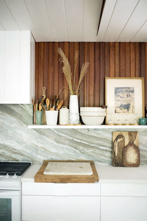 wood element Feng Shui | kitchen back splash Hygge open shelving | Girlfriend is Better