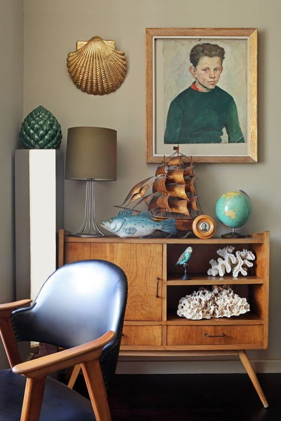 console styling mid-century modern | shells portraits random people | Girlfriend is Better