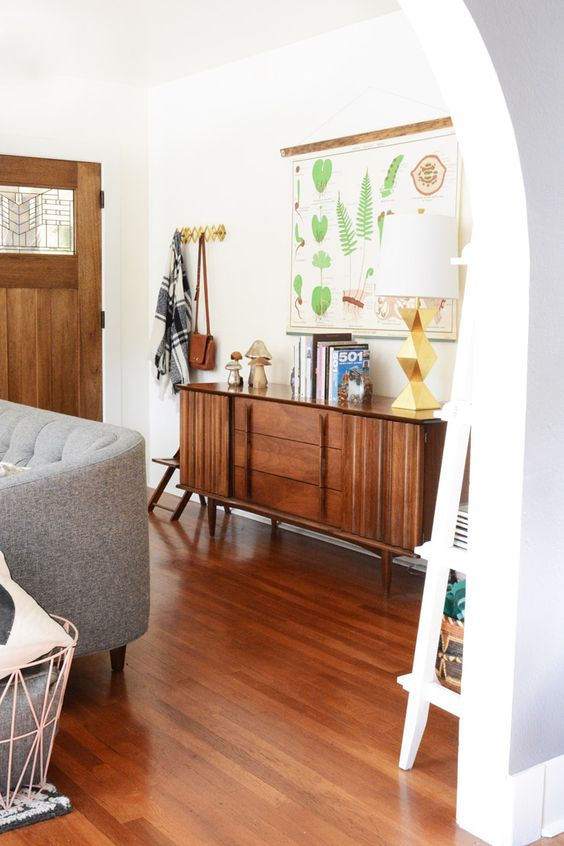 console styling mid-century modern | entryway wood element Feng Shui | Girlfriend is Better
