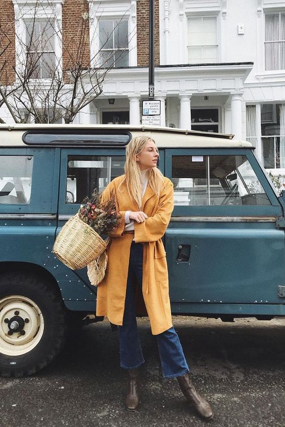 High-water pants cropped denim yellow coat French girl cool | Girlfriend is Better