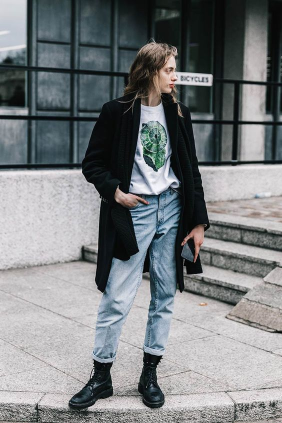 High-water pants rolled up denim jeans | London Fashion Week | Graphic tee black coat boots grunge | Girlfriend is Better