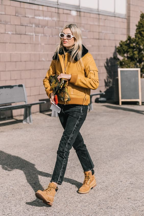 high-water pants black cropped denim yellow jacket Timberland boots | Girlfriend is Better
